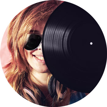 woman with a record