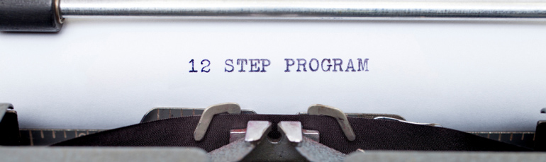 12 step program on typed on paper